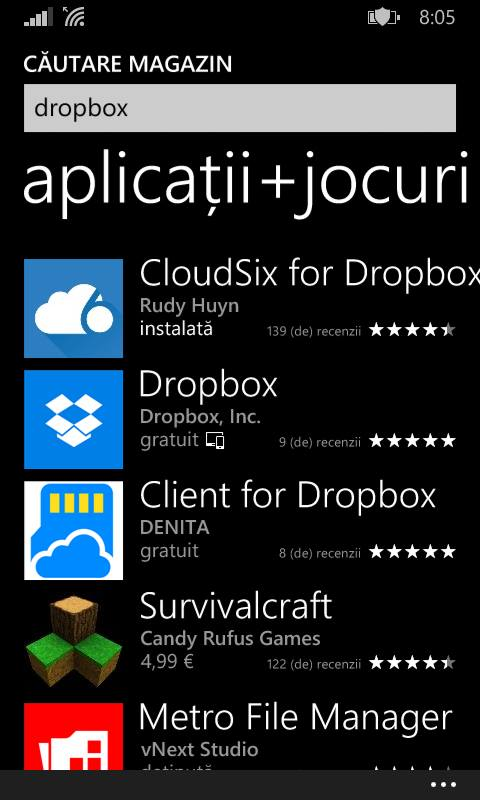 Dropbox pentru Windows Phone